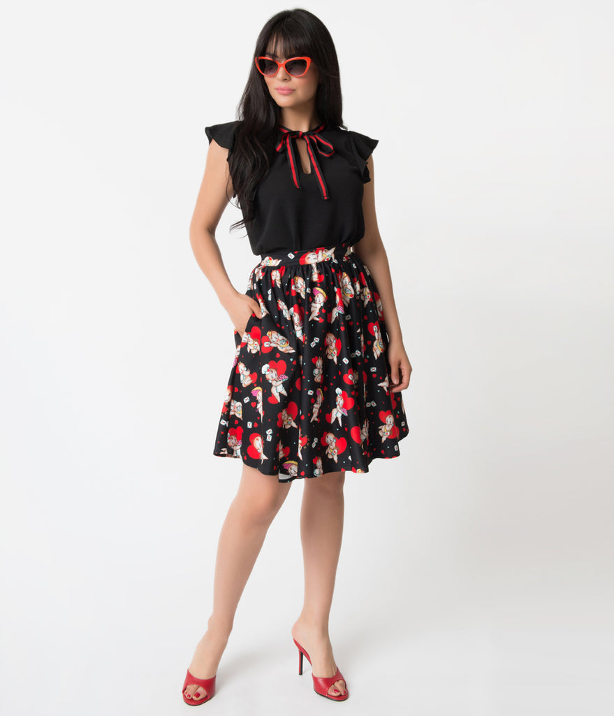 Sourpuss Black & Kewpids Sweets High Waist Flare Skirt