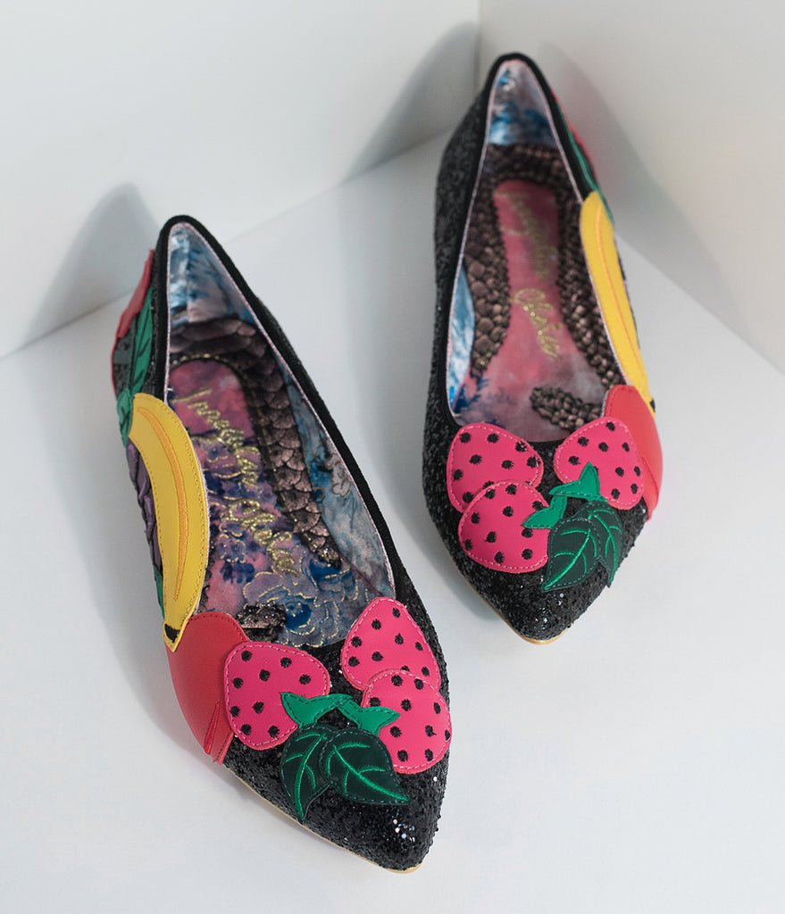 Irregular Choice Black Sparkle & Fruity Bowl Flats