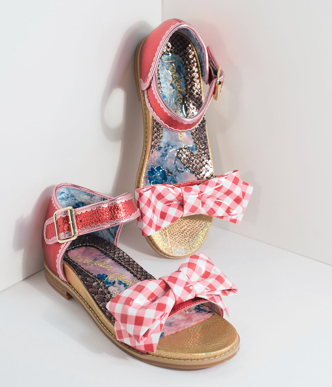 1950s Style Shoes Irregular Choice Red Gingham Picnic Day Sandals $150.00 AT vintagedancer.com