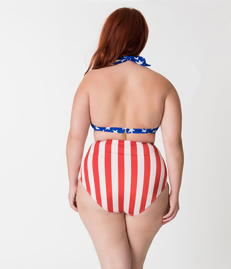 Bettie Page Plus Size Blue Field of Stars Americana Style Halter Swim Top
