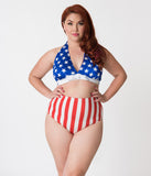 Bettie Page Plus Size Red & White Striped Americana Style High Waist Swim Bottom