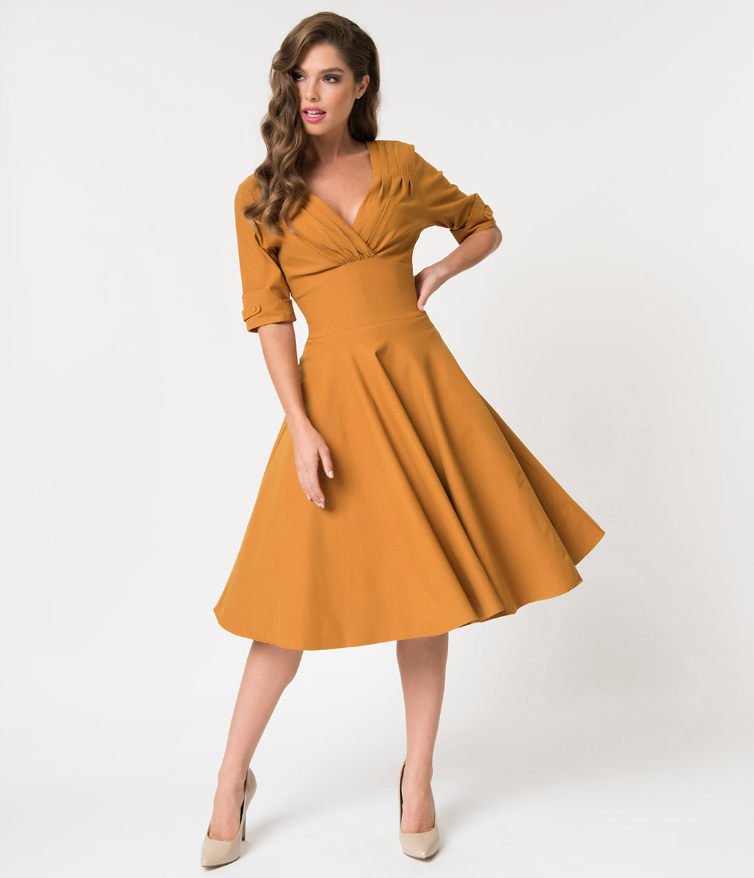 Dress Like the Marvelous Mrs. Maisel Unique Vintage 1950S Mustard Yellow Delores Swing Dress With Sleeves $88.00 AT vintagedancer.com