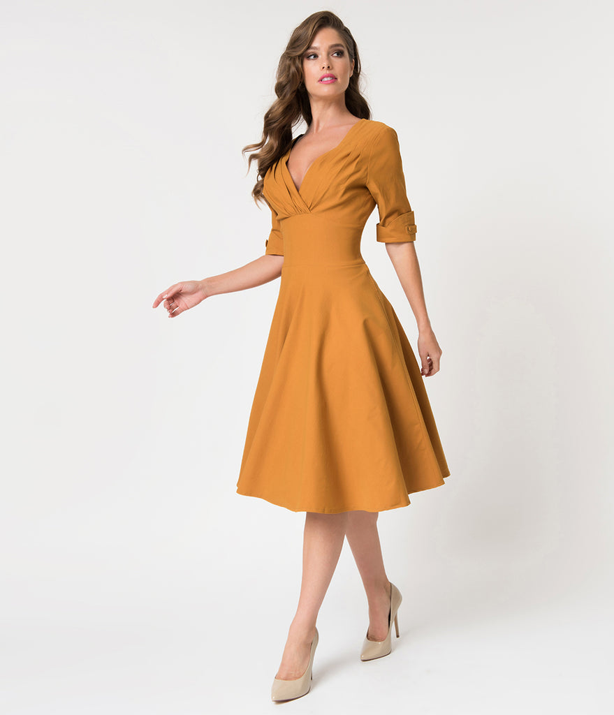 Unique Vintage 1950s Mustard Yellow Delores Swing Dress with Sleeves