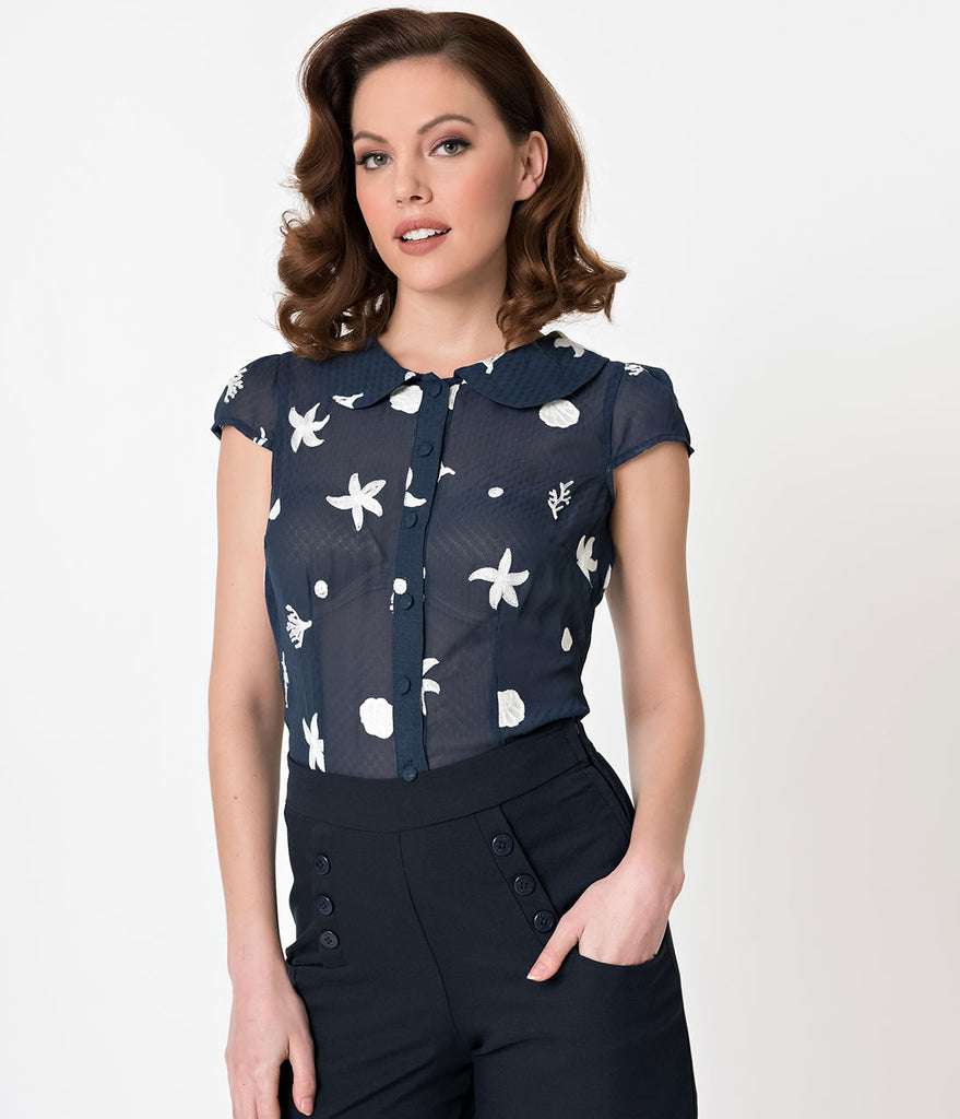 Voodoo Vixen Navy Blue Under The Sea Embroidered Sheer Kelly Top