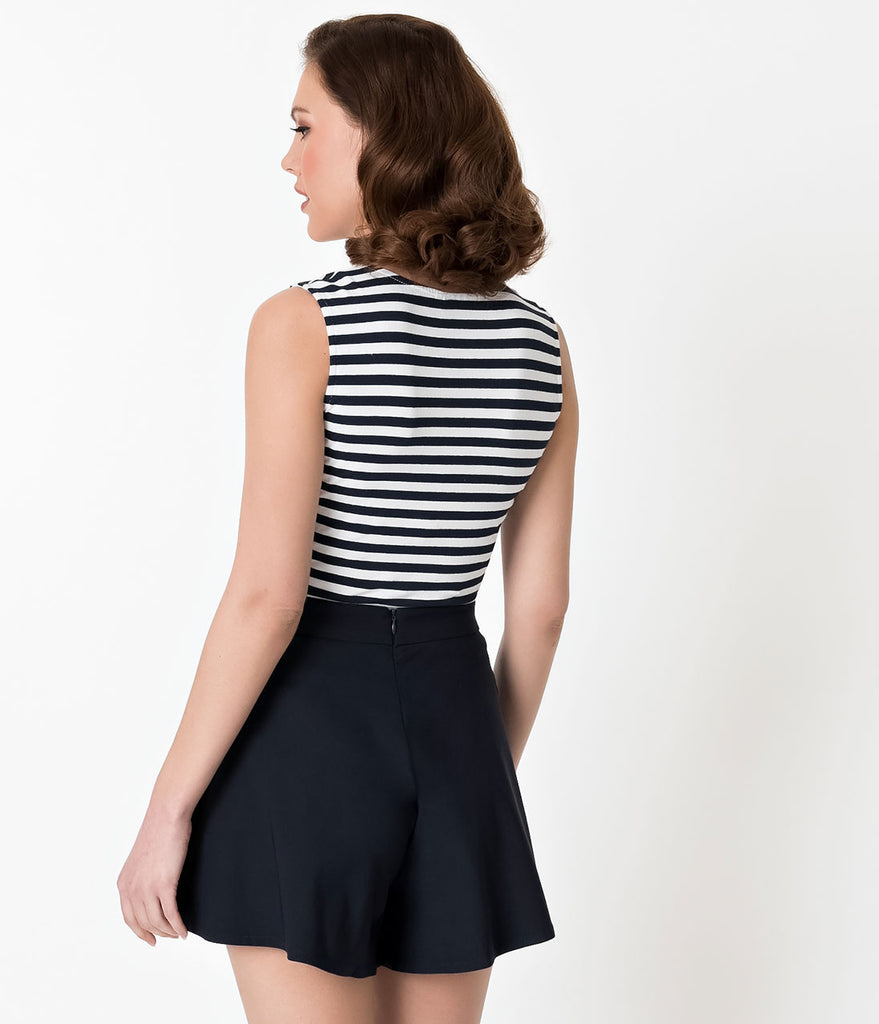 Voodoo Vixen Navy Blue & White Nautical Striped Haili Top