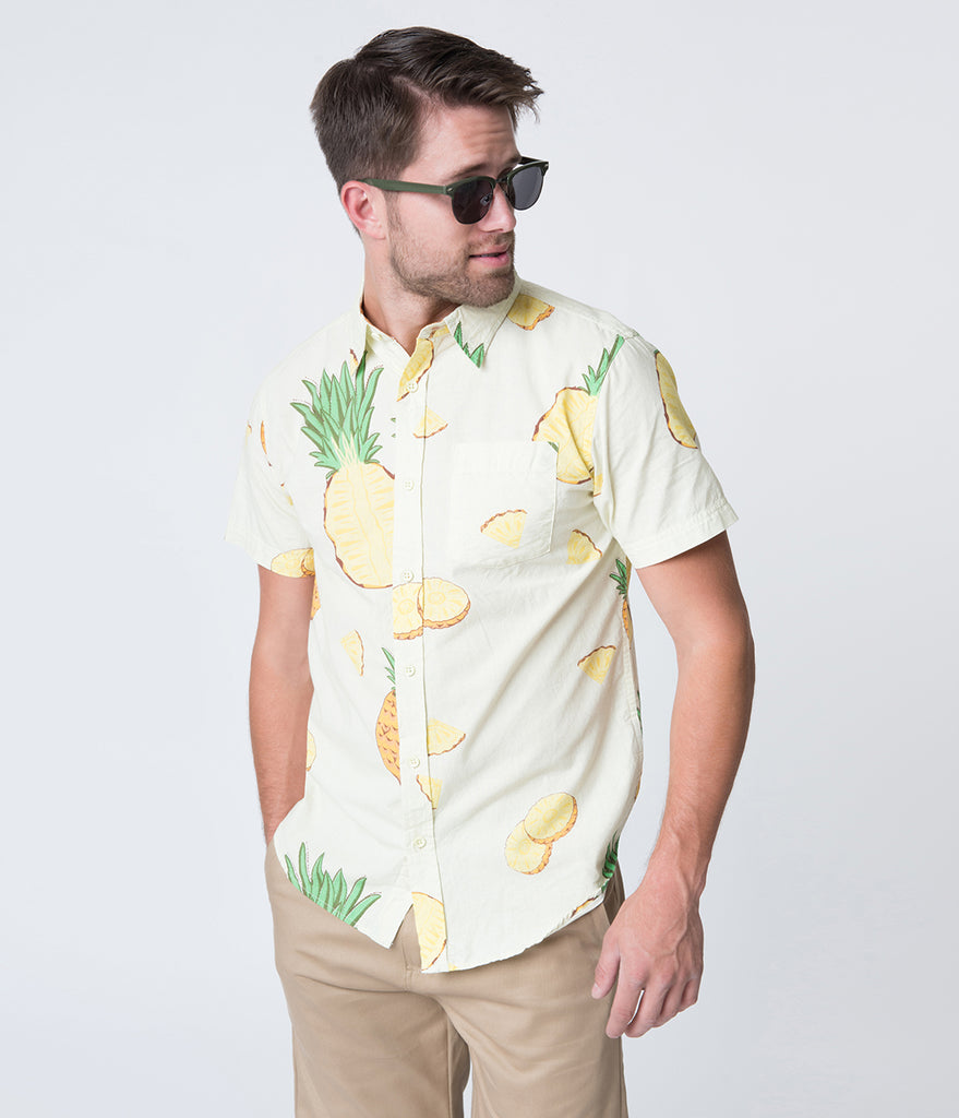 Light Yellow Pineapple Print Button Up Cotton Shirt
