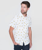 White Taco Print Button Up Mens Cotton Shirt