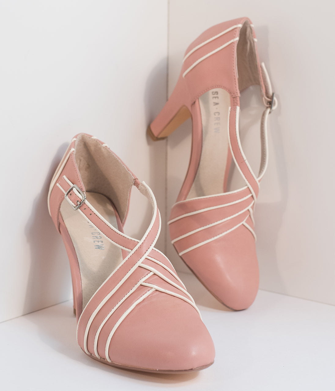 1950s Style Shoes Vintage Style Dusty Pink  Ivory Leatherette DOrsay Heels $64.00 AT vintagedancer.com