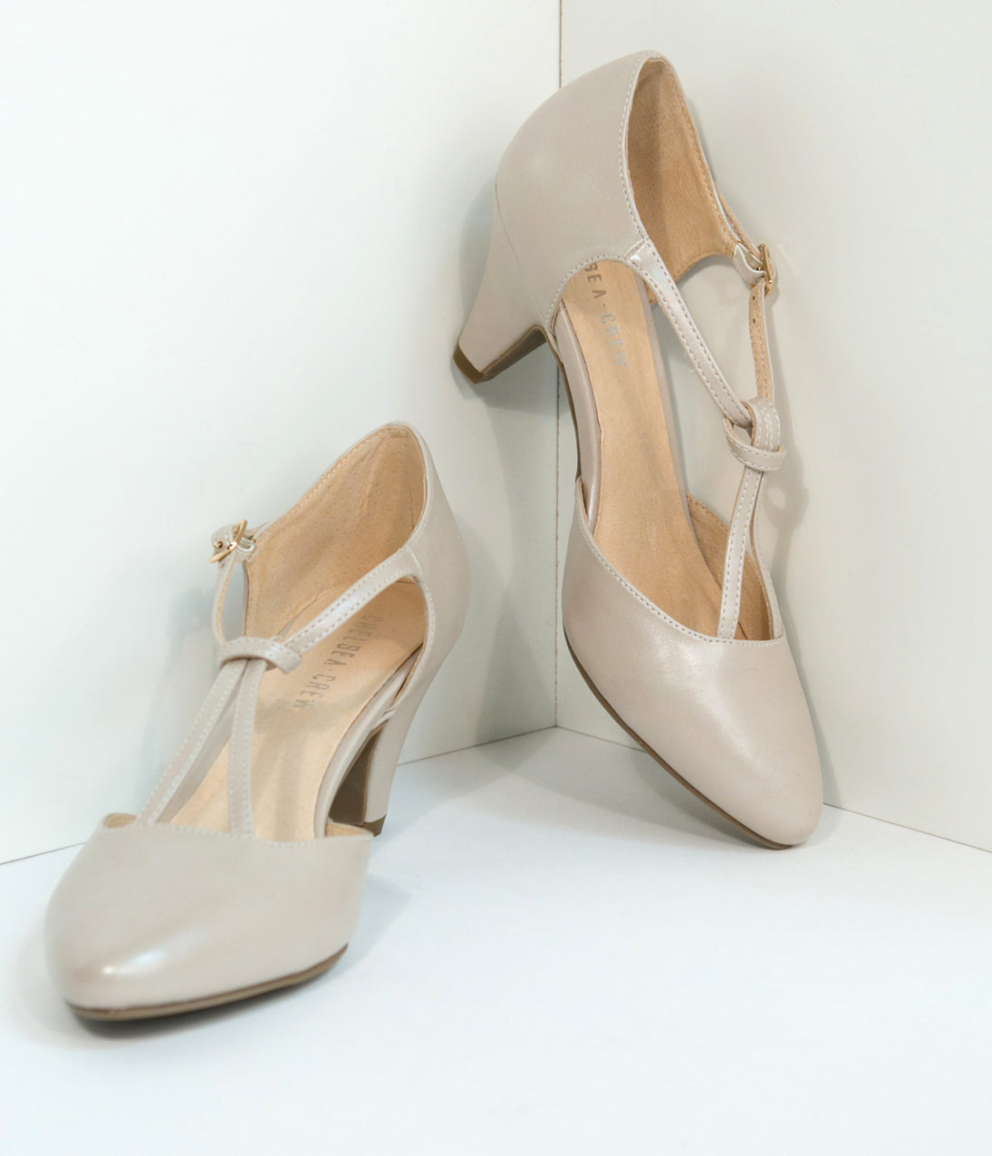 1920s Style Shoes Ivory Champagne Glamour T-Strap Heels $64.00 AT vintagedancer.com
