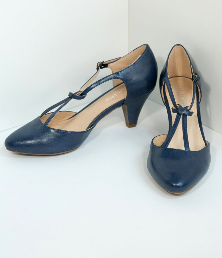 cac4e448c243 Chelsea Crew Navy Blue Glamour T-Strap Heels