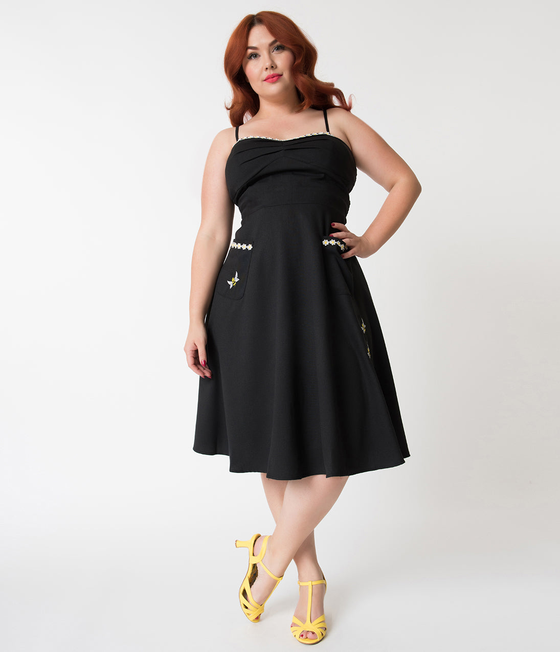 1950s Plus Size Dresses, Clothing | Plus Size Swing Dresses Black Bee Embroidery Flared Dress $74.00 AT vintagedancer.com