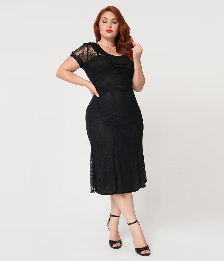 Stop Staring! Plus Size Black Floral Lace Overlay Short Sleeved Railene Wiggle Dress