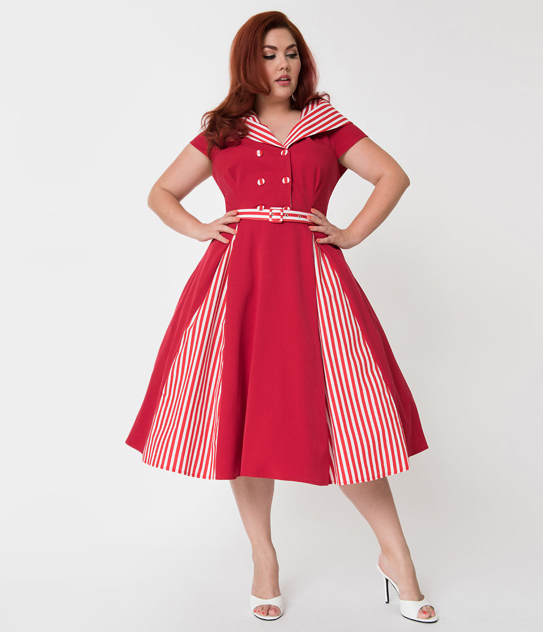 Plus Size Swing Dresses, Vintage Dresses Miss Candy Floss Plus Size Red  White Stripe Roman Holiday Giustina Swing Dress $96.00 AT vintagedancer.com