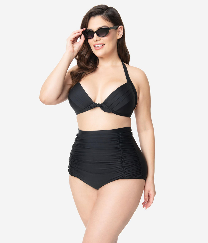 Unique Vintage Plus Size All Black Monroe High Waist Bikini Bottom