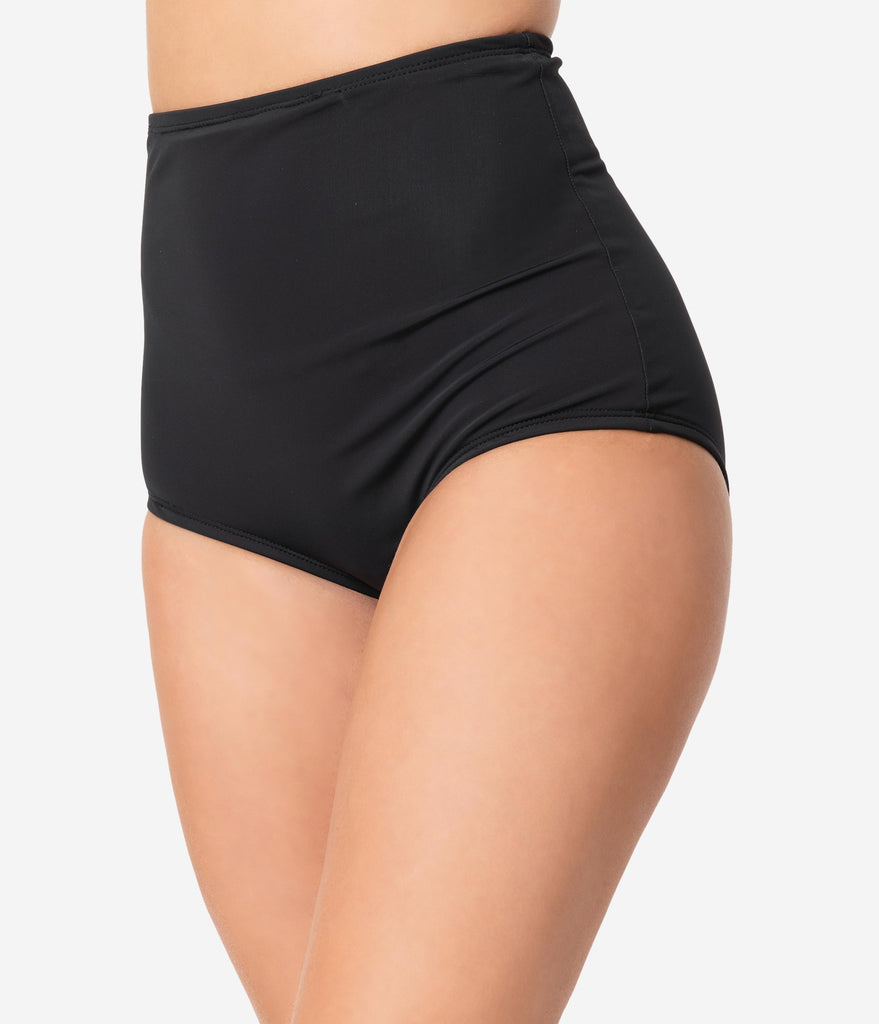 Unique Vintage Black High Waist Louise Swim Bottoms