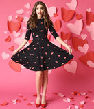 Unique Vintage Black Heartbreaker Print Knit Flare Dress