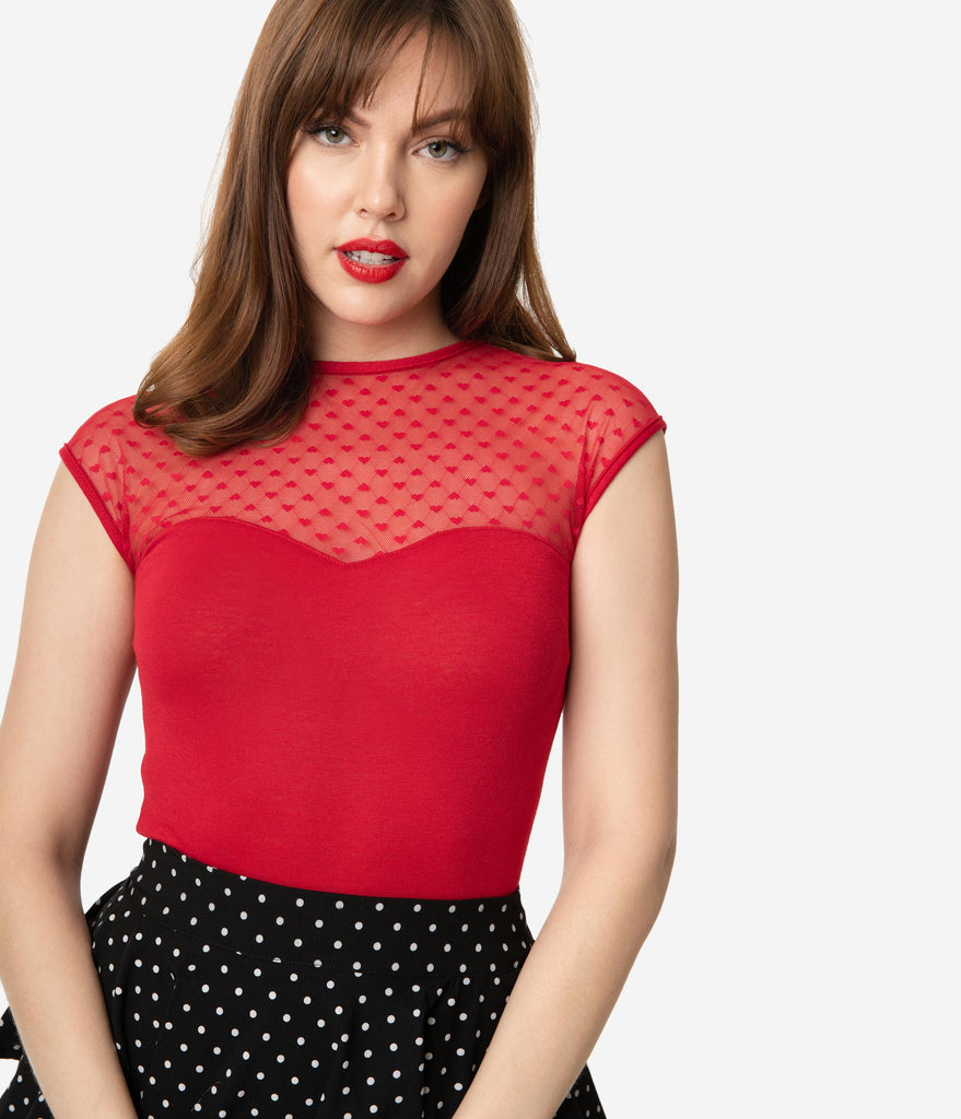 Steady Retro Red Hearts Only Mesh Knit Top