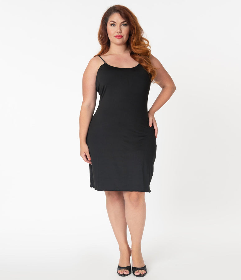 Unique Vintage Plus Size Long Black Stretch Slip