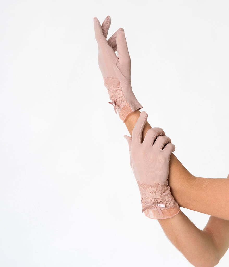 Dusty Pink Vintage Lace Sheer Wrist Gloves