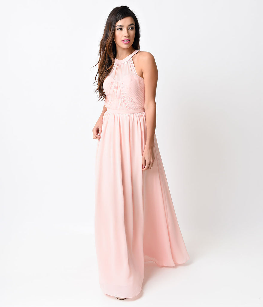 Blush Pink Grecian Chiffon Evening Gown – Unique Vintage