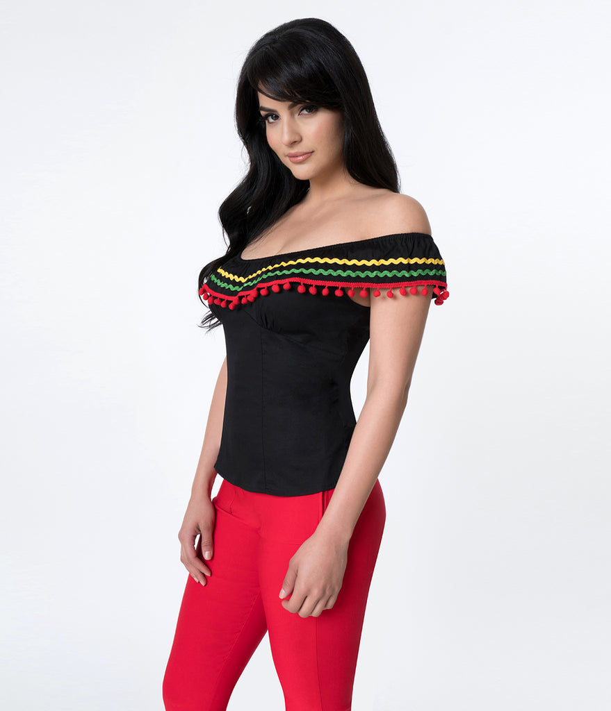 Hell Bunny Black & Multicolor Trim Marianne Off The Shoulder Top