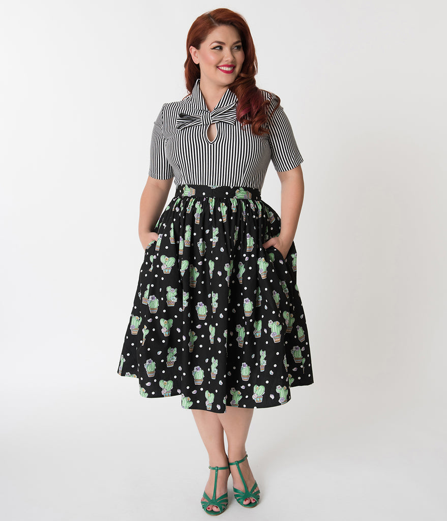 Hell Bunny Plus Size 1950s Style Black Cactus Print Flared Skirt