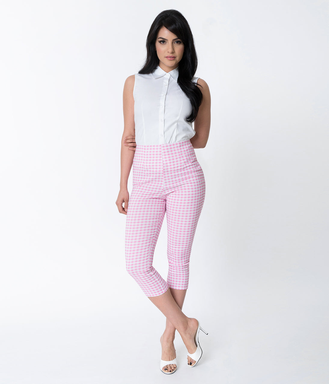 1950s Pants & Jeans- High Waist, Wide Leg, Capri, Pedal Pushers Hell Bunny 1950S Style Pink  White Gingham Judy Cigarette Capri $42.00 AT vintagedancer.com