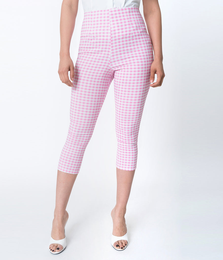 Hell Bunny 1950s Style Pink & White Gingham Judy Cigarette Capri
