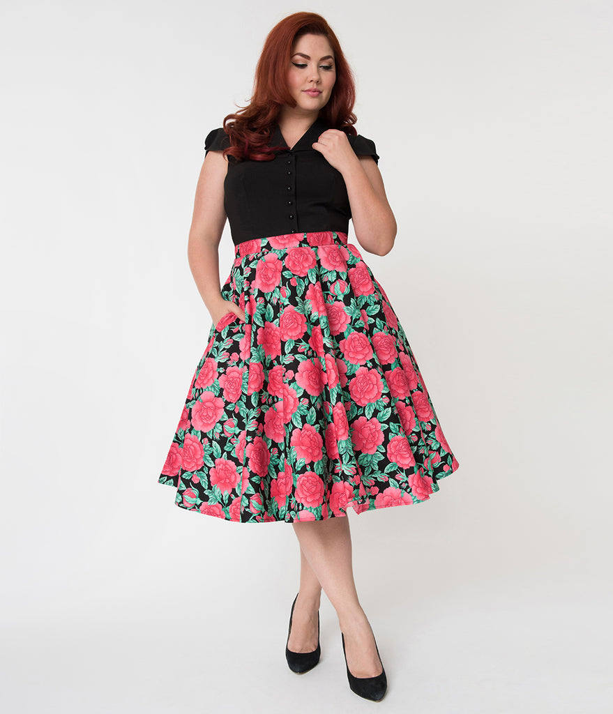 Hell Bunny Plus Size 1950s Style Black & Red Floral Darcey Flared Skirt