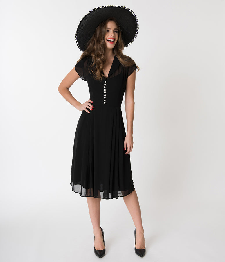 Hell Bunny Black Chiffon Cap Sleeve Paige Flare Dress