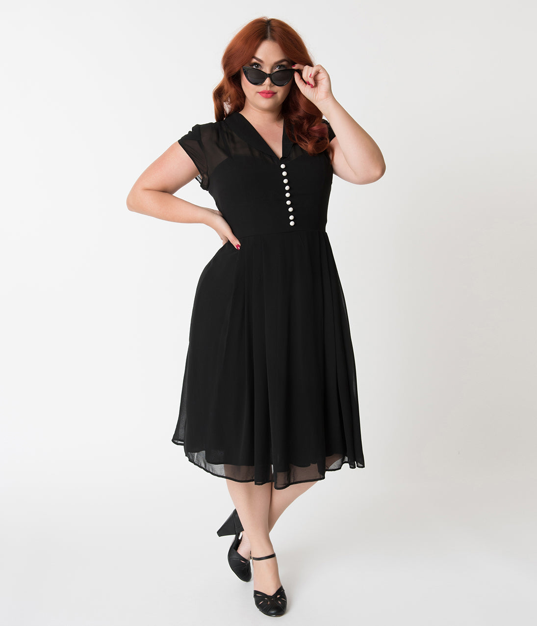 1940s Evening, Prom, Party, Cocktail Dresses & Ball Gowns Hell Bunny Plus Size Black Chiffon Cap Sleeve Paige Flare Dress $92.00 AT vintagedancer.com
