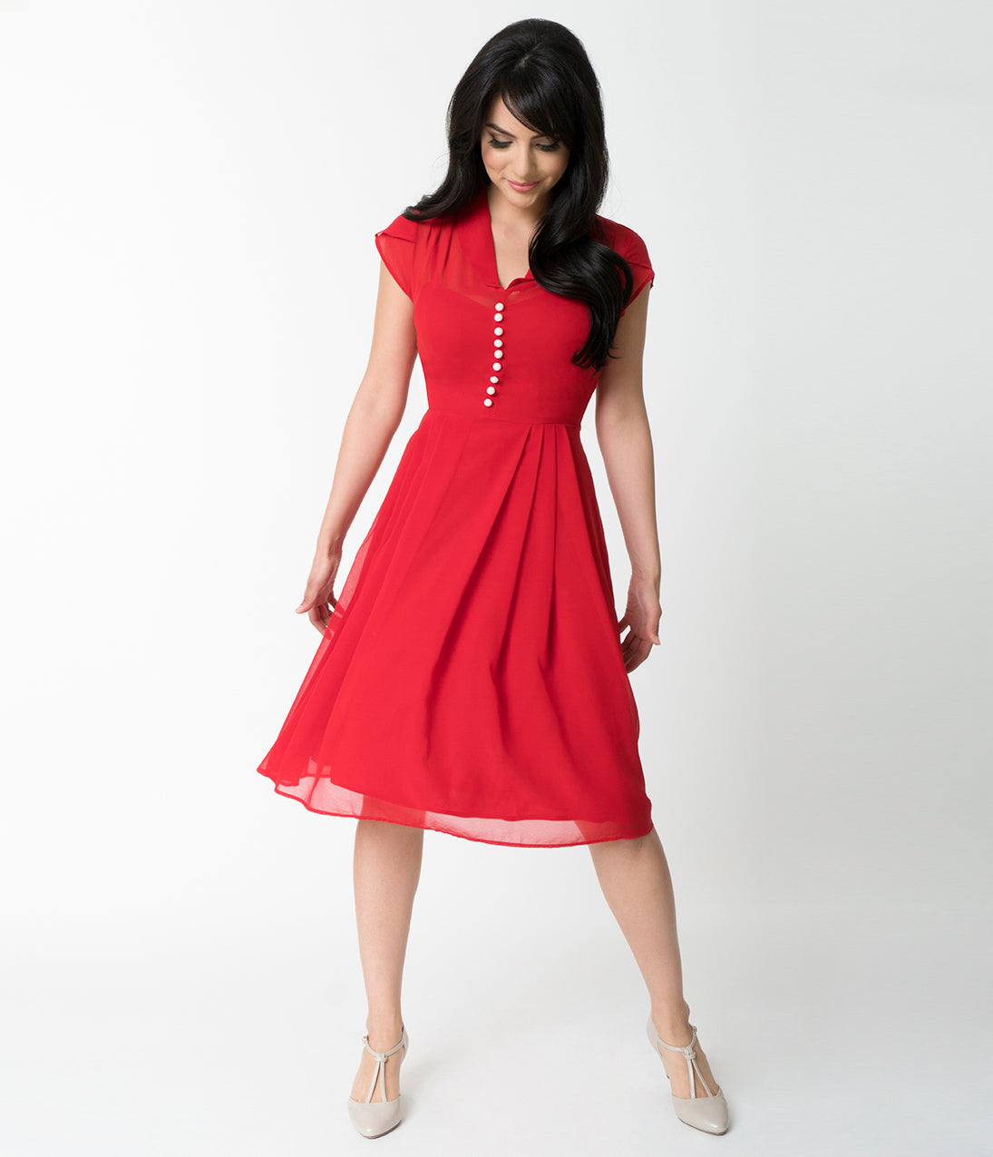 Pin Up Dresses | Pin Up Clothing Hell Bunny Red Chiffon Cap Sleeve Paige Flare Dress $92.00 AT vintagedancer.com