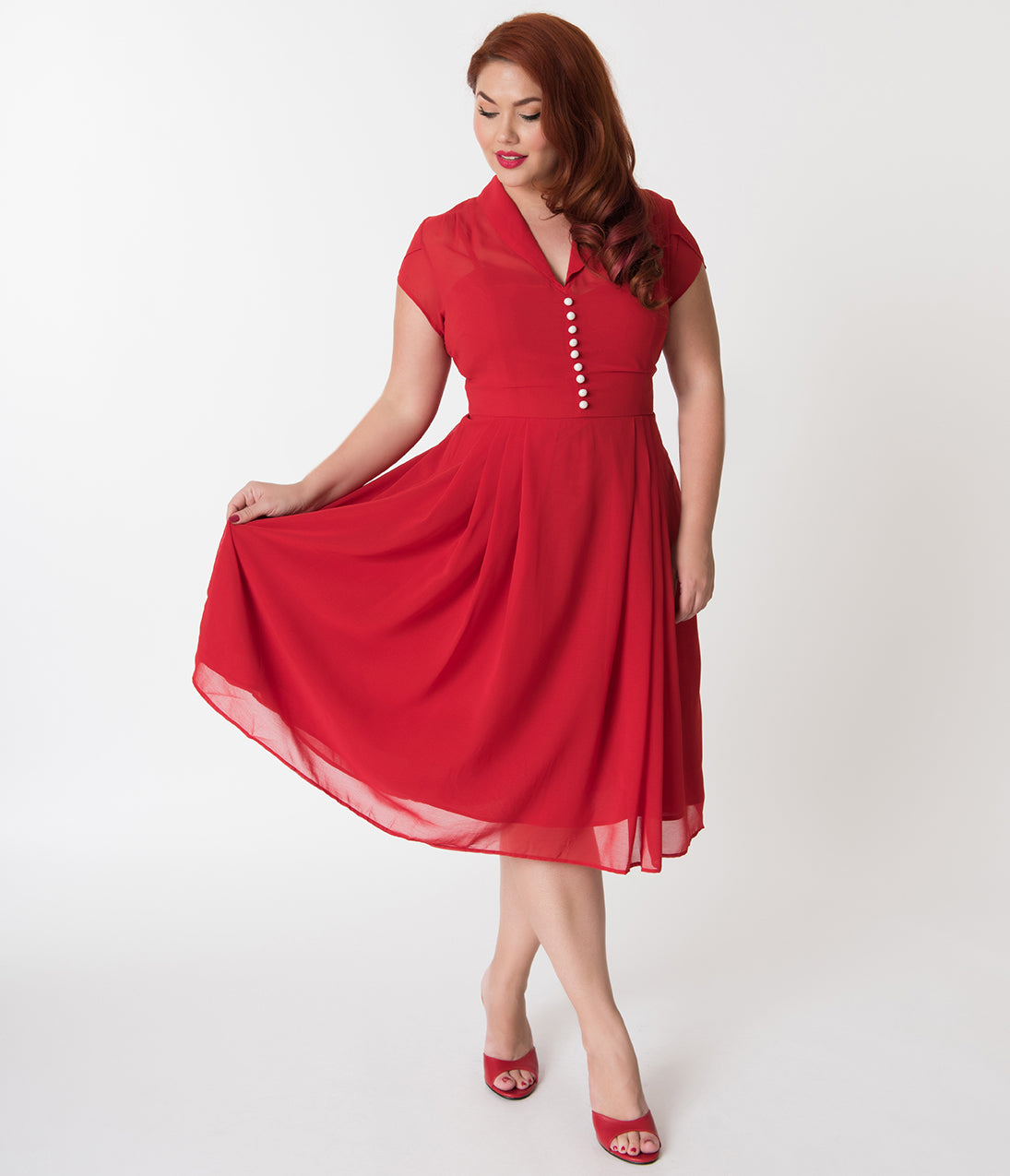 1940s Evening, Prom, Party, Cocktail Dresses & Ball Gowns Hell Bunny Plus Size Red Chiffon Cap Sleeve Paige Flare Dress $92.00 AT vintagedancer.com