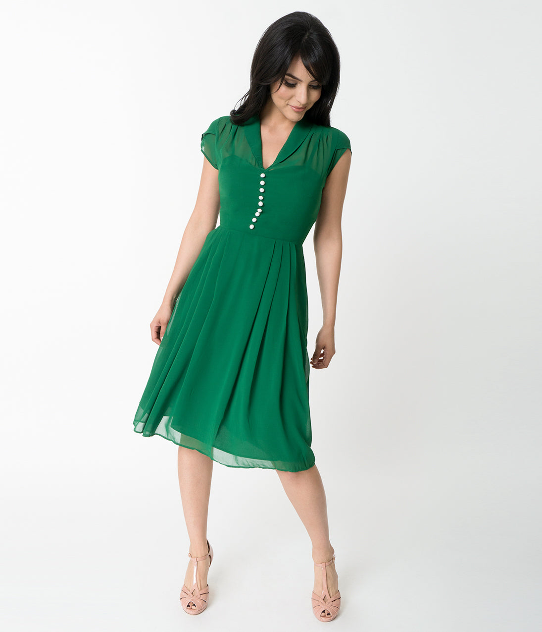 Pin Up Dresses | Pin Up Clothing Hell Bunny Green Chiffon Cap Sleeve Paige Flare Dress $92.00 AT vintagedancer.com
