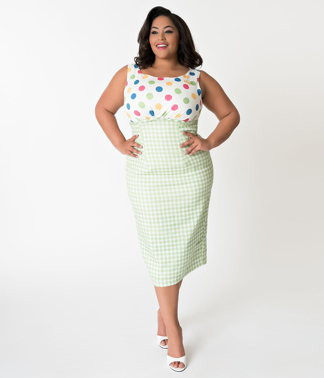 Plus Size Polka Dot Dresses – Vintage 40s, 50s, 60s Dresses Barbie X Unique Vintage Plus Size 1960S Lunch On The Terrace Pencil Dress $118.00 AT vintagedancer.com