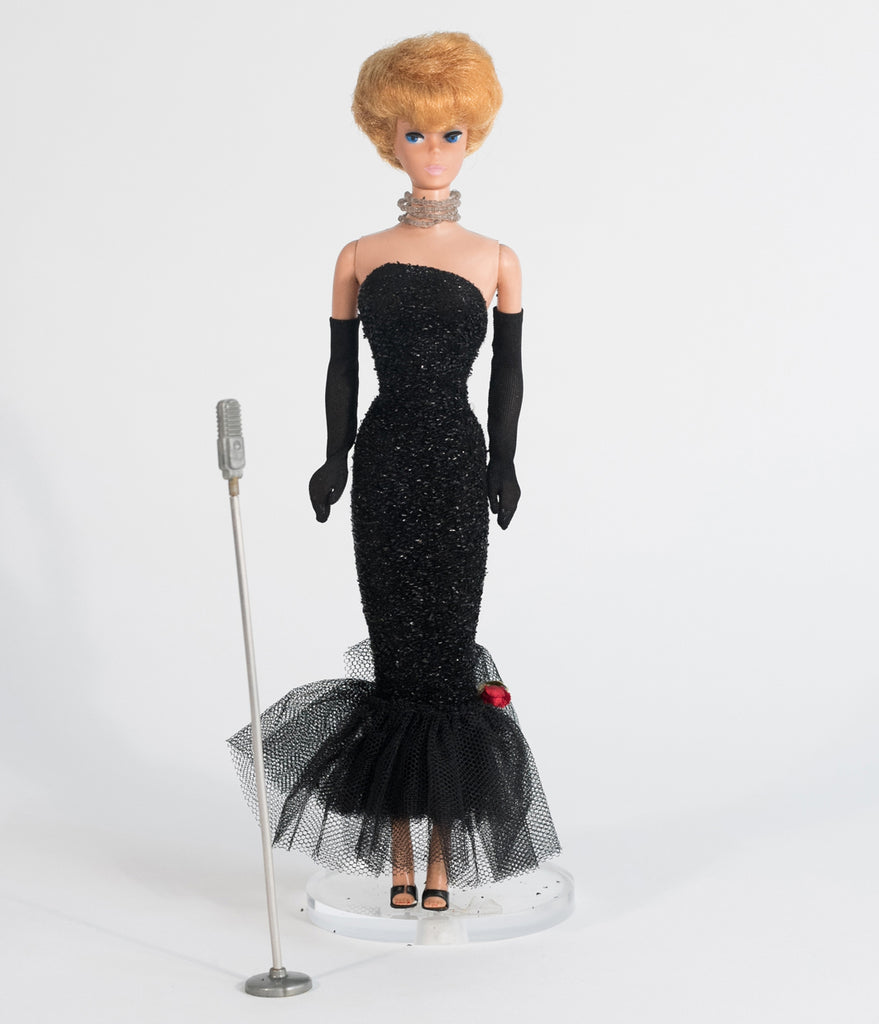 Barbie x Unique Vintage Black Solo In The Spotlight Strapless Wiggle Dress