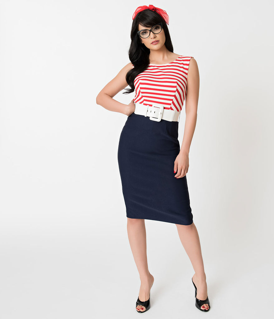 Barbie x Unique Vintage Cruise Stripes Nautical Pencil Dress