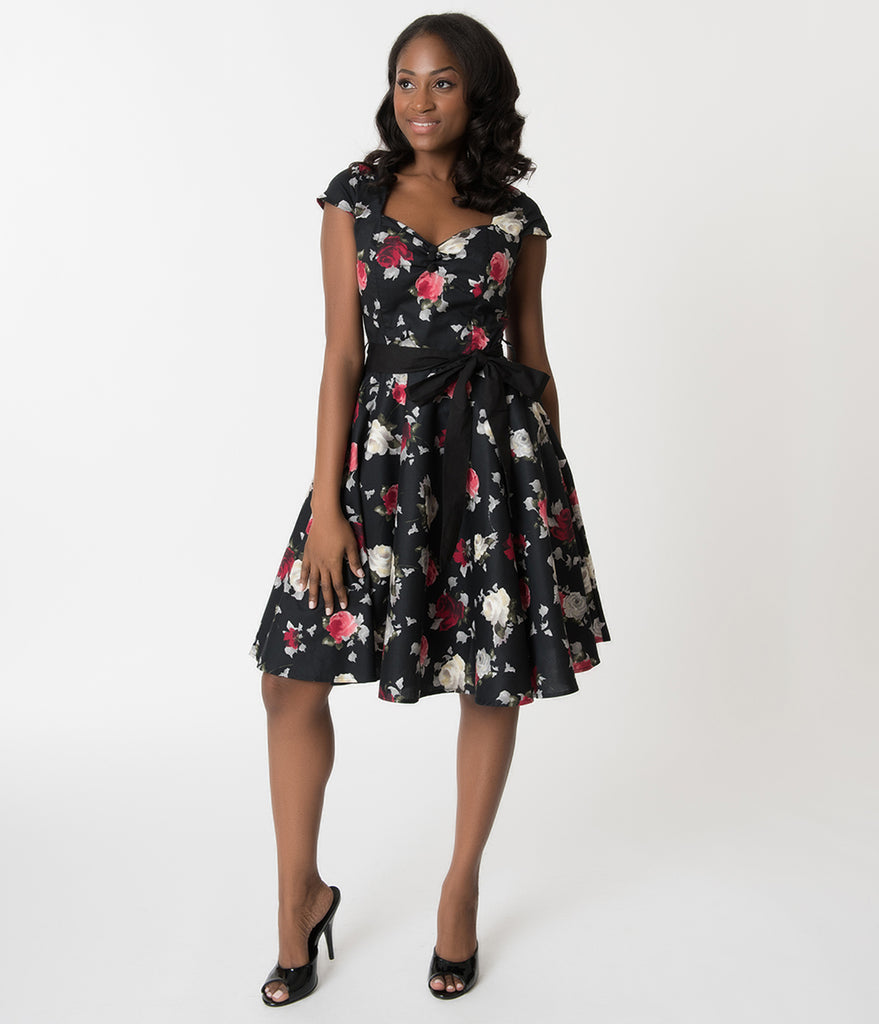 Hell Bunny Black Floral Print Abela Cotton Swing Dress