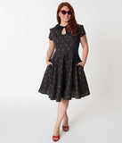 Hell Bunny Plus Size Black & Cherry Print Sophie Flare Dress