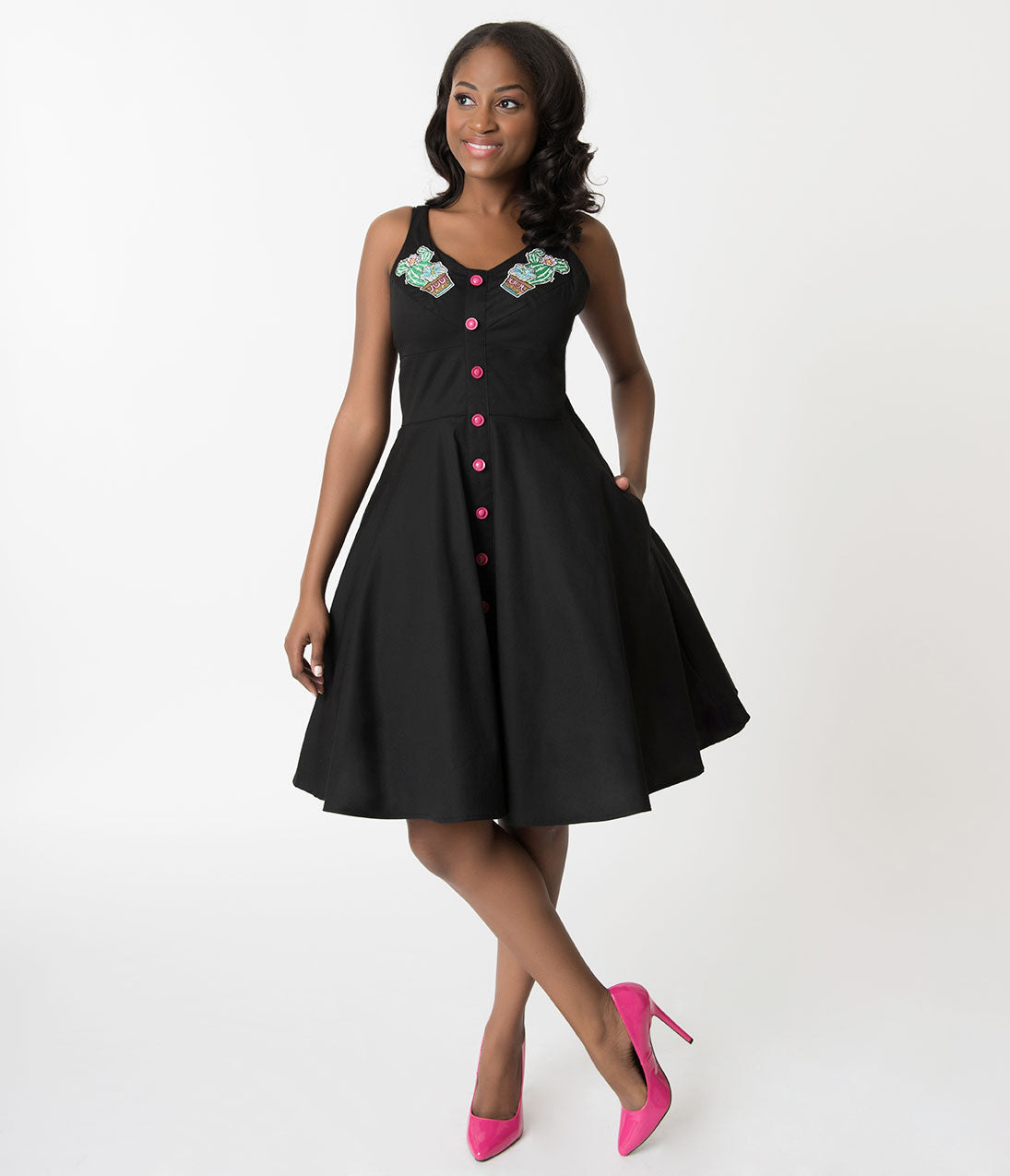 Pin Up Dresses | Pin Up Clothing Hell Bunny Black  Hatiora Cactus Embroidered Cotton Swing Dress $82.00 AT vintagedancer.com