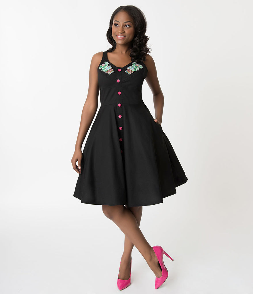 Hell Bunny Black & Hatiora Cactus Embroidered Cotton Swing Dress