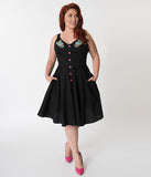 Hell Bunny Plus Size Black & Hatiora Cactus Embroidered Cotton Swing Dress