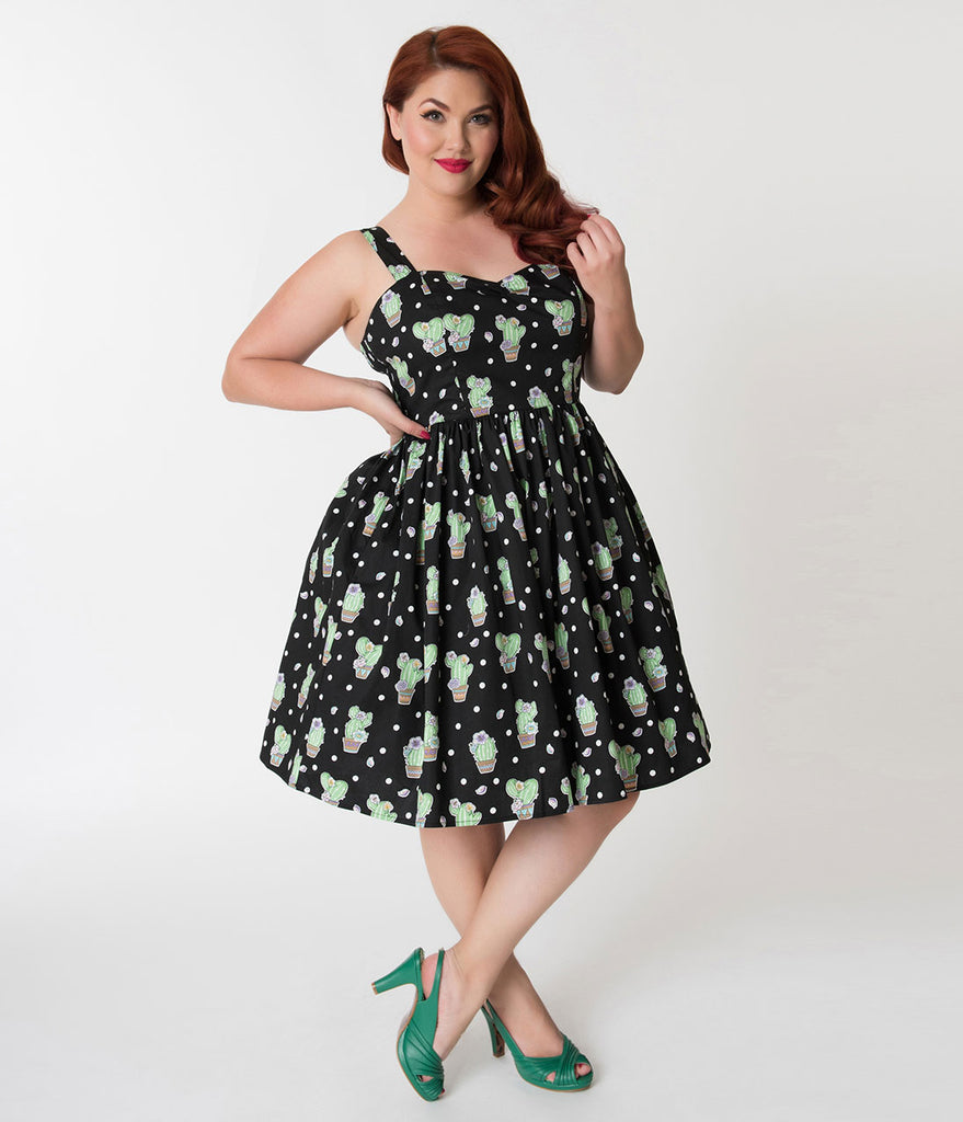 Hell Bunny Plus Size Black Cactus Print Cotton Swing Dress