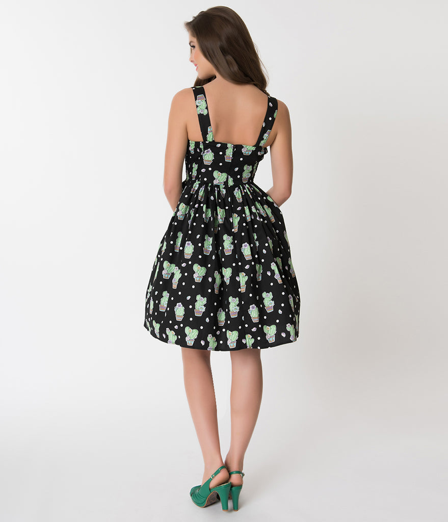 Hell Bunny Black Cactus Print Cotton Swing Dress