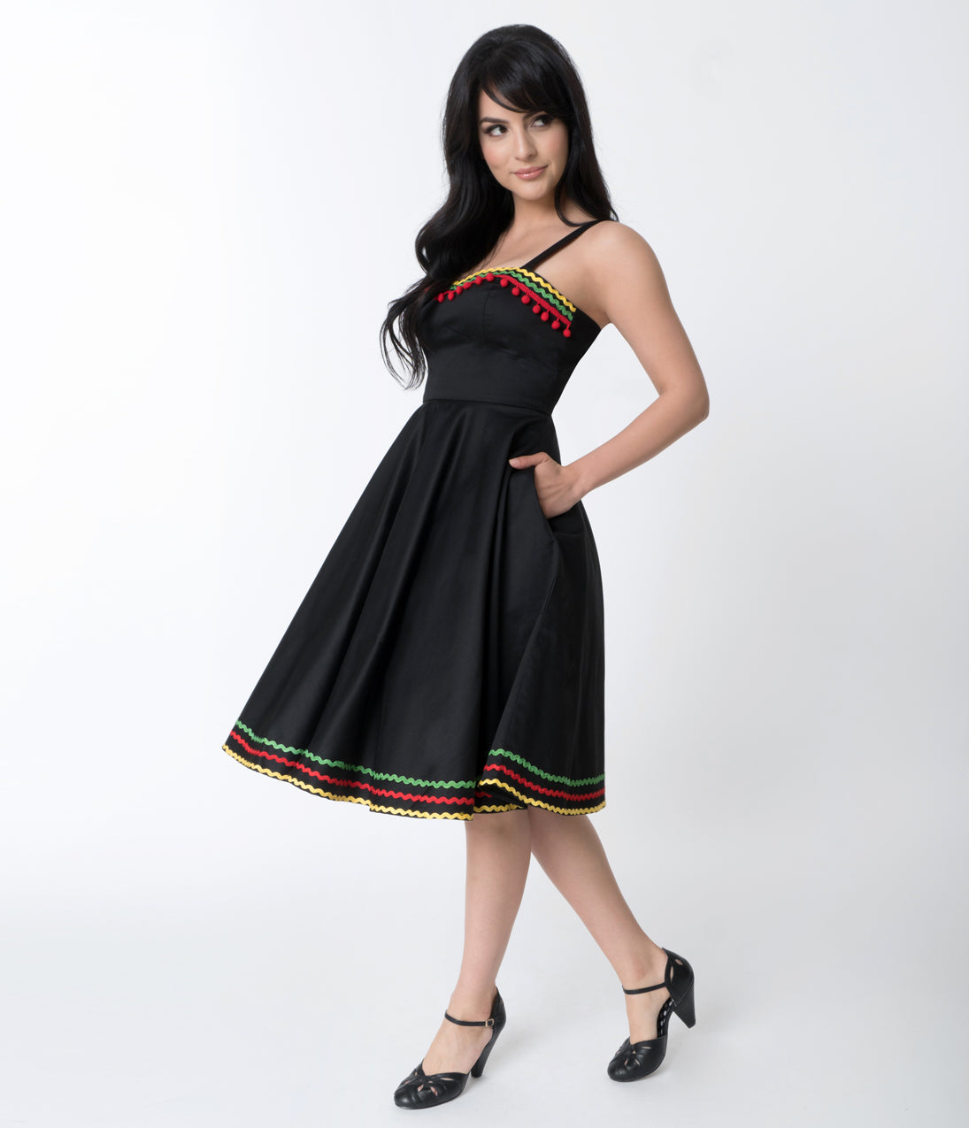 Rockabilly Dresses | Rockabilly Clothing | Viva Las Vegas Hell Bunny Black  Multicolor Trim Cotton Marianne Swing Dress $88.00 AT vintagedancer.com