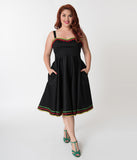 Hell Bunny Plus Size Black & Multicolor Trim Cotton Marianne Swing Dress