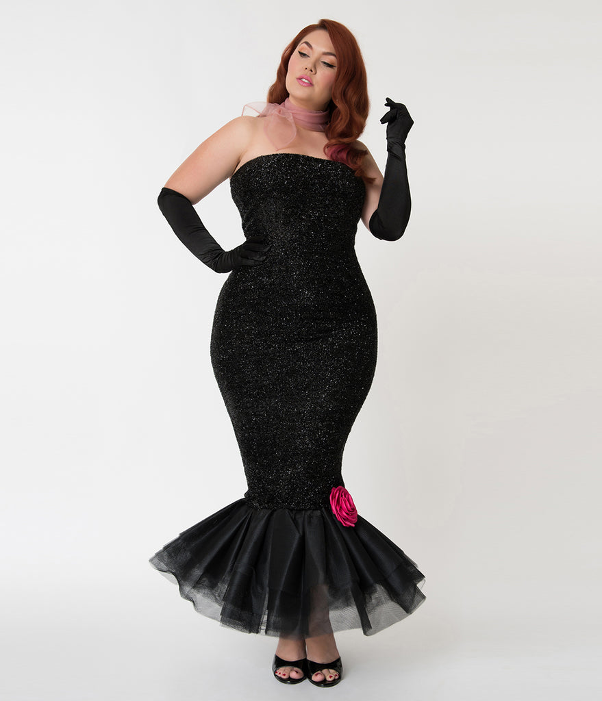 Barbie x Unique Vintage Plus Size Black Solo In The Spotlight Strapless Wiggle Dress