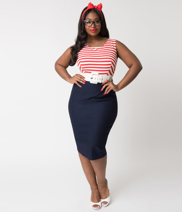 Barbie x Unique Vintage Plus Size Cruise Stripes Nautical Pencil Dress