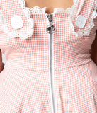Barbie x Unique Vintage Plus Size Rose & White Gingham Barbie-Q Swing Dress