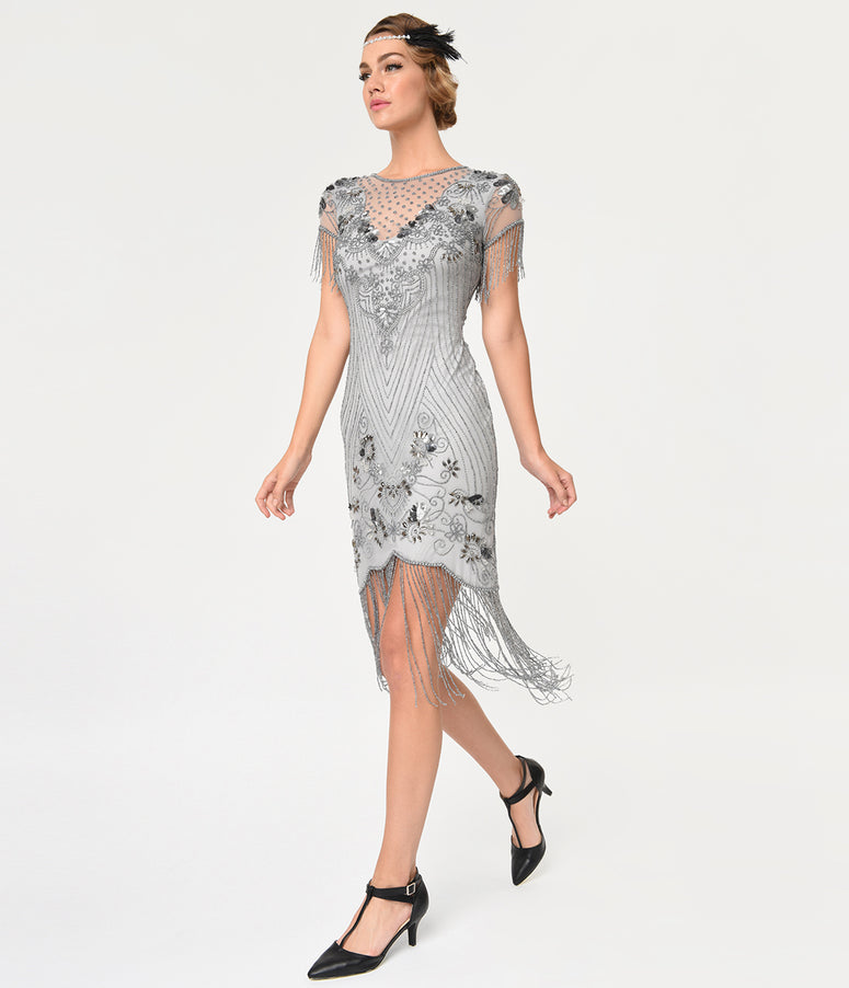 Frock and Frill Grey Beaded Fringe Cap Sleeve Cyra Flapper Dress